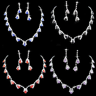 HK- Prom Wedding Party Bridal Jewelry Diamante Crystal Necklace Earrings Sets Ex