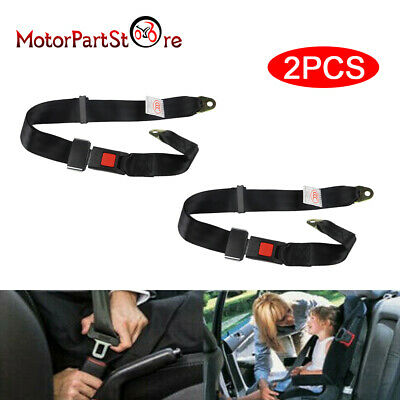 2x Black Polyester Car Retractable Adjustable 2 Point Style Seat Belt