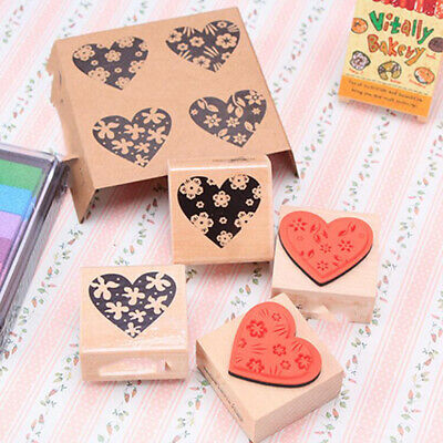Wooden Love Heart Stamp Rubber Stamp DIY Scrapbooking Rubber Embossing Tools CB