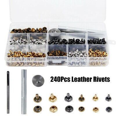 240 Set Leather Double Cap Rivets Tubular Metal Studs Fixing Tool Kit Craft New