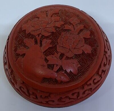 Carved Cinnabar Box with Two Flowers
