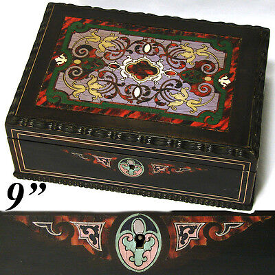 """Antique French Louis Philippe Era Boulle Inlay 9"""" Desk Top, Work or Sewing Box"""