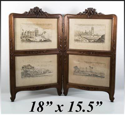"""Antique French Victorian Carved Walnut 18"""" Doll Dressing Screen, Picture Frame"""