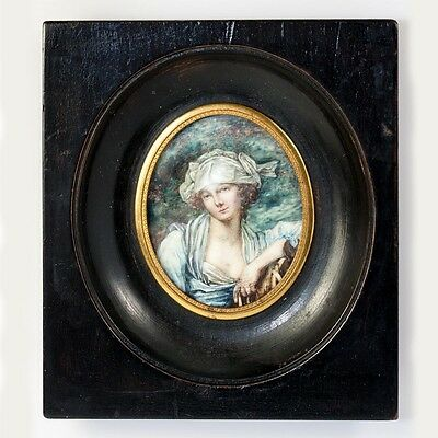Antique French Portrait Miniature in Frame, After Girl with a Pony by Greuze