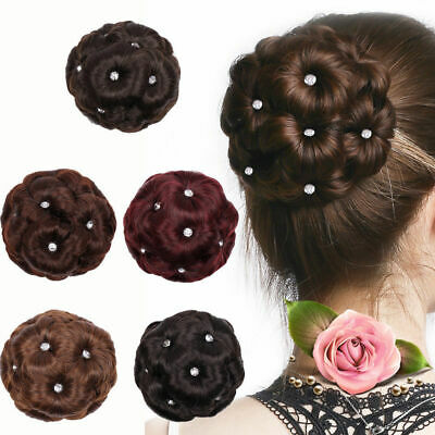 Female Flower Curly Bun Clip In Ponytail Comb Chignon Hair Extension Hairpiece