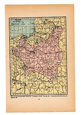 Map Of poland Vintage  1926