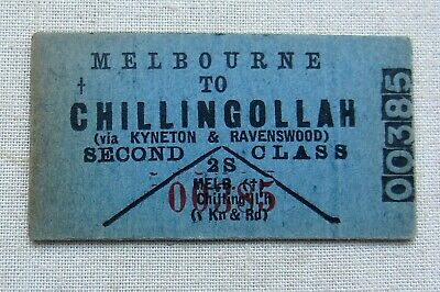 VR Red Number 1925-39 Issue - Melbourne to Chillingollah - Second Class Single