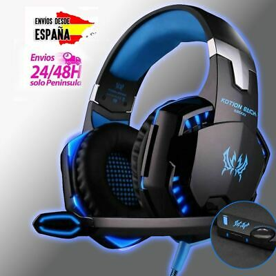 Cascos gaming Kotion con LED azul y micro PS4 PC XBOX