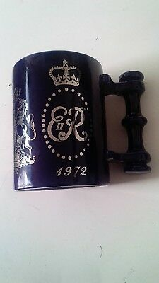 Portmerion Pottery Queen Elizabeth II 1947-1972 Silver Wedding Mug/Tankard