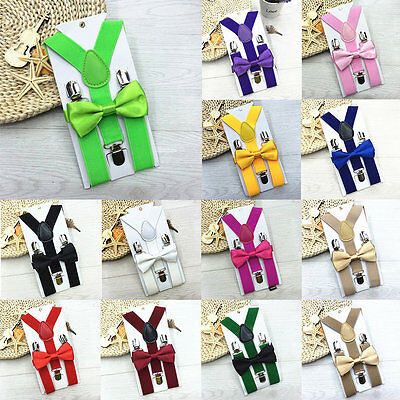 Cute Kids Design Suspenders and Bowtie Bow Tie Set Matching Ties Outfits WM
