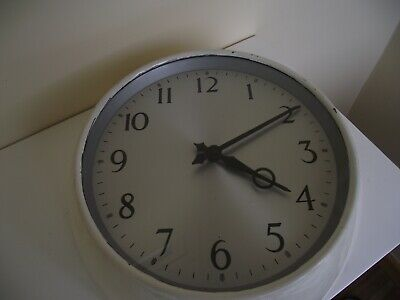 Vintage Smiths SEC White Factory Office Wall Clock, Electric, Industrial Working