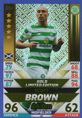 Spfl Match Attax 2018/19 Scott Brown Gold Limited Edition Card - Celtic