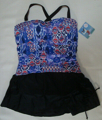 08f33ae9a2025 New $125 Seekers Contour Plus Women's 1 Pc Skirted Swimsuit Multi-Color DD/E
