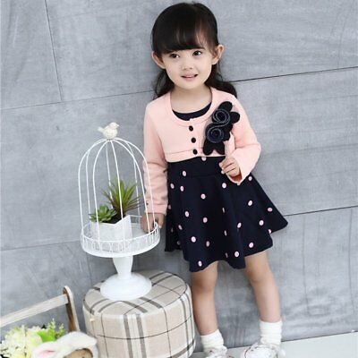 Spring Autumn Baby Girls Round Collar Long Sleeve Princess Dress Clothes  WY