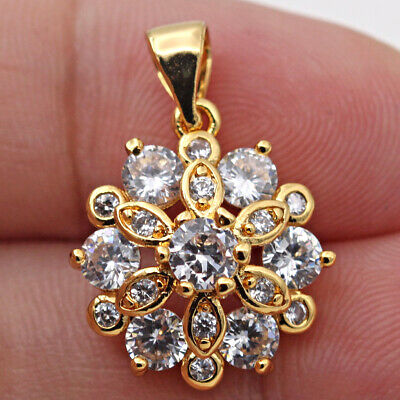 Flower Style Pendant Solid 14k Yellow Gold 2.00ct Round Cut Brilliant Diamond