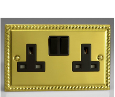 13 Amp Wall Double Plug Socket 2 Gang in Polished Brass GEORGIAN Style Plate