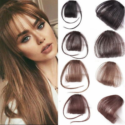UK Thin Neat Air Bangs Remy Human Hair Extensions Clip in on Fringe Bang