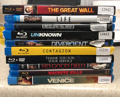 Lot 10 Blu Ray Action Free Shipping  Great Wall   No Good Deed  Divergent