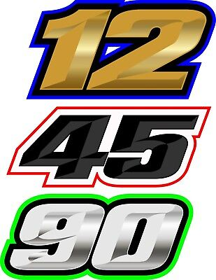 Motorcycle race numbers x3 high bond decals, Track day, Karting, Road Race