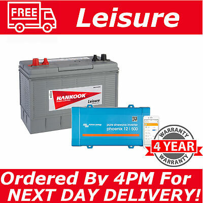 12V 130Ah Deep Cycle Leisure Battery For Camper Motorhome With 500VA Inverter