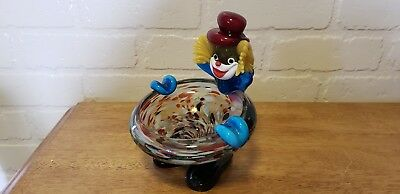 Vintage Murano Clown Ashtray / Trinket Dish