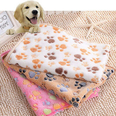 HK- Warm Pet Mat Dog Paw Print Cat Dog Puppy Fleece Soft Blanket Bed Cushion Env