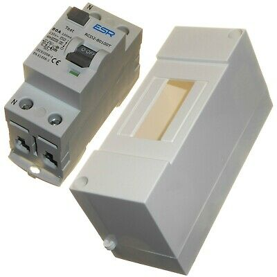 Time delay 80 amp 100mA RCD trip safe switch in 2 way box enclosure 80A new