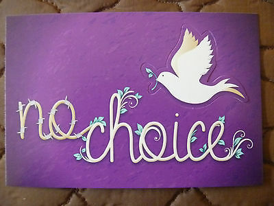 """Postcard Pop-Up....forced Marriage...""""No Choice"""".....Dove...love...peace"""