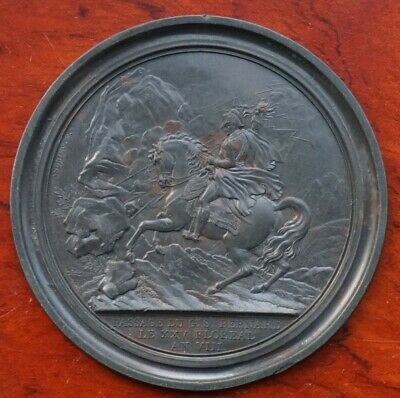 """France, Napoleonic """"cliche"""", uniface medal by Andrieu, St Bernard Passage 1801"""