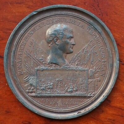 """France - Napoleonic """"cliche"""", uniface medal by Andrieu, Battle of Maringo 1800"""