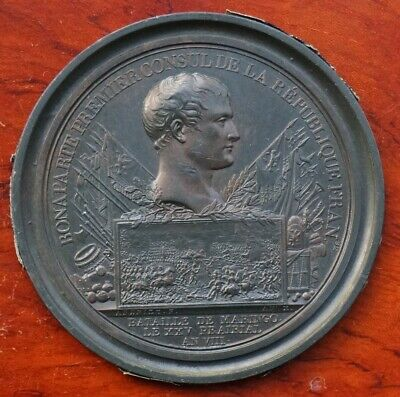 """France, Napoleonic """"cliche"""", uniface medal by Andrieu, Battle of Maringo 1800"""