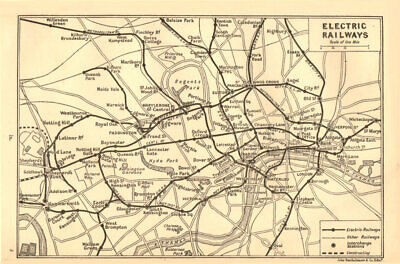 LONDON UNDERGROUND. Electric railways. Tube 1917 old antique map plan chart