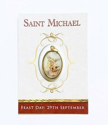 St Saint Michael The Archangel - Colour Resin Drop Medal On Presentation Card