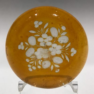 Antique Bohemian Art Glass Paperweight Etched Amber Flash Flower Bouque