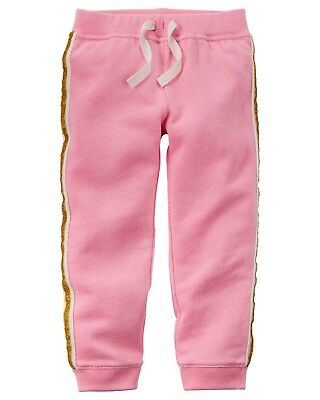 9 Months Carters Girls Peach French Terry Joggers With Sparkle Side Stripe