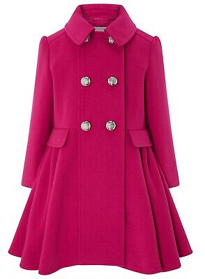 Monsoon Girls Millie Pink Fit And Flare Dress Coat Jacket Age AGE 1 to 13 Yrs