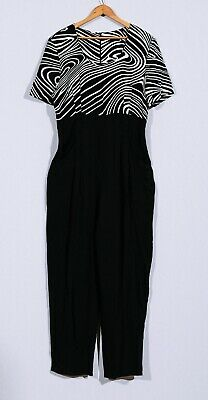 166e70a8d87d VTG 70s 80s Black   White Zebra Stripe One Piece Jumpsuit Suit Romper Sz 12