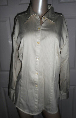 a632a4084c2 George Women s Size 16W Button Down Long Sleeve Ivory   Gold Striped Blouse