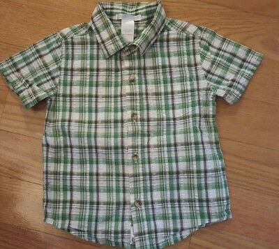 Boy Size 18-24 Months Green Plaid Janie and Jack Short Sleeve Button Down Shirt