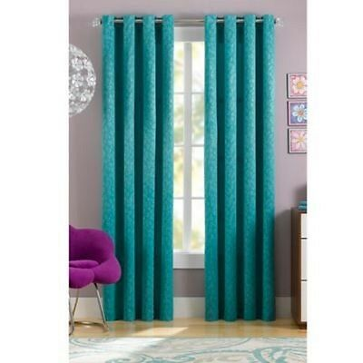 Spotty Leopard Animal Print Thermaweave 84-Inch Window Curtain Panel Turquoise
