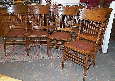Antique Oak Pressed Back Chairs set of 8 w fiberboard seats