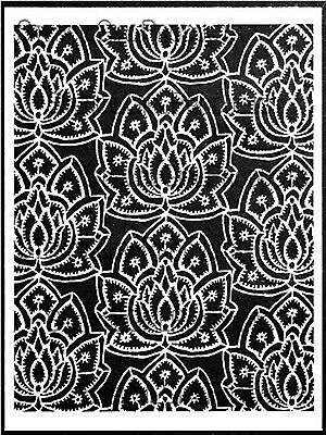 "NEW Stencil Girl Products, Stencil, Lacy Lotus Repeat, 9""x12"", L432"