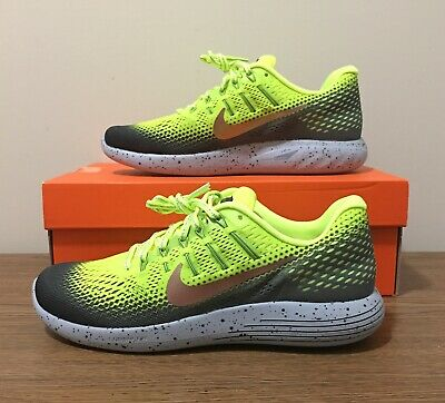 size 40 431cd 85948 New Nike Lunarglide 8 Shield 849568-700 Volt Red Bronze Dark Gray Men s  Size 8