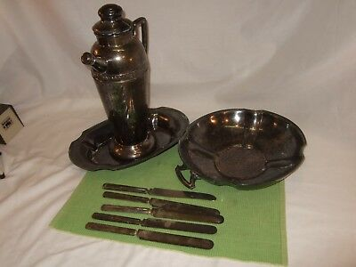 "Beautiful Silver Lot of Trays Water Pitcher Coffee Pot 13"" Tall Knives Engraved"