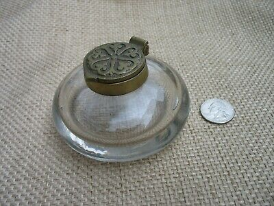 Antique/Vintage Heavy Duty Hand Blown Glass Inkwell With A Solid Brass Lid