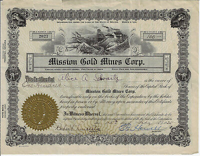 NEVADA 1935 Mission Gold Mines Corp Stock Certificate Tonopah