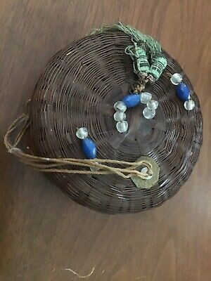 Vintage Antique Chinese Wicker Sewing Basket w/ Beads & Coins W/tassels
