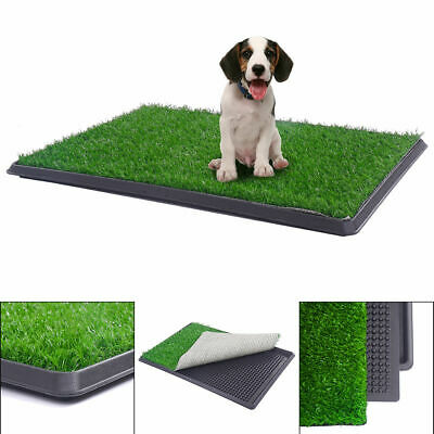 Indoor Pet Toilet Dog Cat Puppy Grass Potty Training Pad Mat Patch Turf w/ Tray
