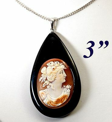 Antique Victorian - Edwardian Era Carved Shell Cameo Set, Large Teardrop Pendant