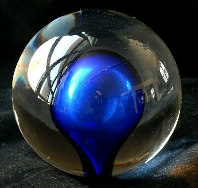 Vintage Alfredo Barbini Modernist Murano Glass Blue Sommerso Paperweight, Italy